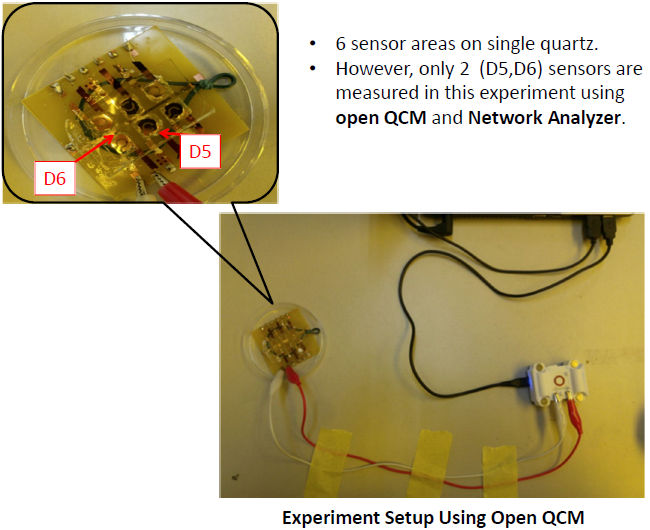 6 sensor areas on single quartz. Only 2 (D5,D6) sensors are investigated in this experiment using openQCM and Network Analyzer. (Custom designed by Anis Nurashikin Nordin and Ahmad Anwar Zainuddin Department of Electrical and Computer Engineering of International Islamic University Malaysia)